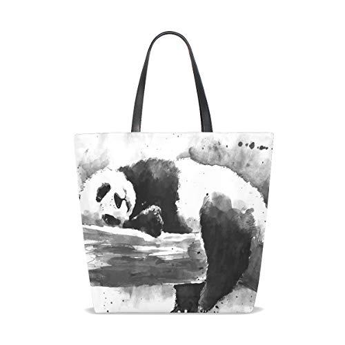 Drawing Watercolor Panda White Black Porter À Taille Femme L'épaule And Tote Pour Unique 001 Bennigiry Sac 87Onq