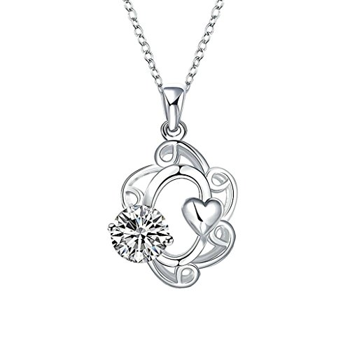 AmDxD Jewelry Gold Plated Women's Necklace White AAA Elements Crystal Flower Hollow Design Pendant