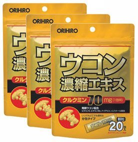 Orihiro Turmeric Concentrate Extract Granules Supplement (1.5 G X 20 Follicles X 3 Pieces)