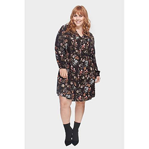 Vestido Floral Com Amarração Plus Size Preto-48