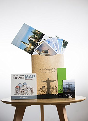 KIT SALE: In the footsteps of JESUS IN THE HOLY LAND. A spiritual gift Includes: Very special maps, original stone from the Sea of Galilee, 6 postcards & a bookmark
