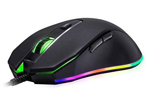ROSEWILL Gaming Mouse with RGB LED Lighting, Gaming Mice for Computer / PC / Laptop / Mac Book with 10000 DPI Optical Gaming Sensor and Ergonomic Design with 6 Buttons (NEON M59)