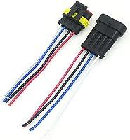 5Pcs 4 Pin Qiorange 5 Kit 4 Pin Way Car Waterproof Electrical Connector Plug Socket Kit with Wire AWG Marine