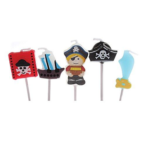 5 Mini-Kerzen * PIRATEN * auf Holzhalter für Party und Geburtstag // Kerzen Kuchen Torte Deko Candle Pirates Piratenschiff Totenkopf Goldschatz Dekospass LCC237