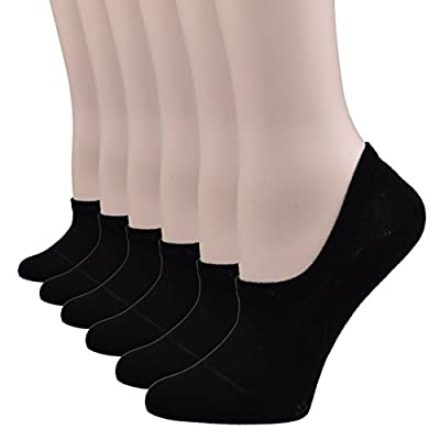 Fitu Women's 6 Pairs Cotton No Show Liner Socks Non Slip Low Cut