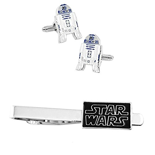 Outlander R2-D2 Cufflink & Text Tiebar - New 2018 Star Wars Movies - Set of 2 Wedding Logo w/Gift Box