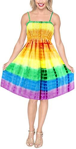 LA LEELA Women's Beach Light Short Tube Dress Tie Dye Strap Large Orange_3520