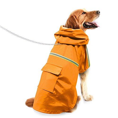 Dog Raincoat Yellow Leisure Pet Jacket Reflective Waterproof Dog Coat Lightweight with Hood for X-Large Dog by Beirui