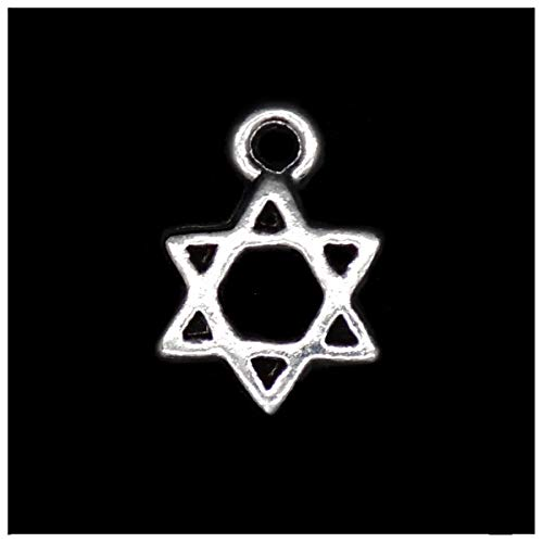 Pack of 80 Star of David Charms Pendants Silver Craft Supplies for Jewelry Making Tibetan Accessories for Bracelets Necklace DIY