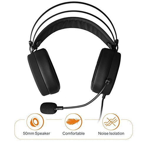 41%2B631tjqtL - Lightweight-PS4-Xbox-One-Gaming-Headset-Stereo-with-Microphone-Mute-35mm-Wired-Over-Ear-Computer-Headphones-Volume-Control-Flexible-Headband-for-PC-Laptop-Tablet-Mac-Chat-Video-Conference-Black