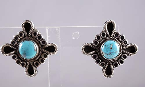 Terry Martinez Handmade Sterling Silver Navajo Earrings Natural Bisbee Turquoise (Sterling Earrings Terry Silver)