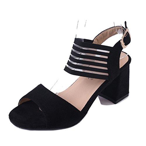 GAOLIM Sandalias De Verano Salvaje Mujeres Con Palabra En Negrita Con Zapatos De Mujer Para El Hueco Mate Zapatos De Mujer Negro