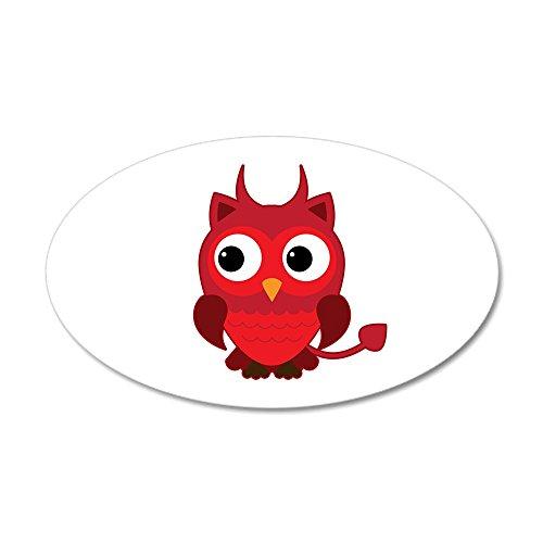 20x12 Oval Wall Vinyl Sticker Little Spooky Owl Devil -