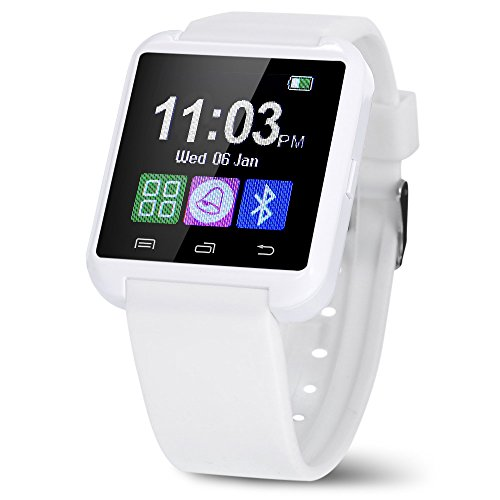 Bluetooth Smart Watch U8 Wrist Watch U8 SmartWatch for IPhone 4/4S/5/5S/6 and Samsung S4/Note/s6 HTC Android Phone Smartwatch (White)