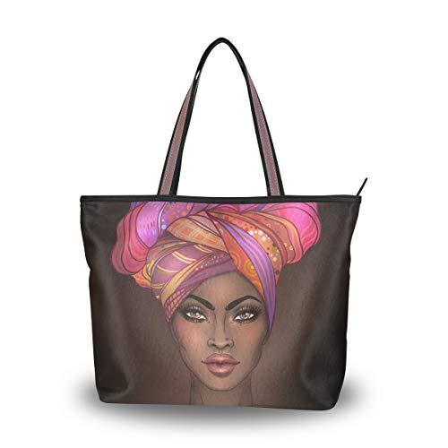 Woman Tote Bag Shoulder Handbag African American Woman for Work Travel Business Beach Shopping School