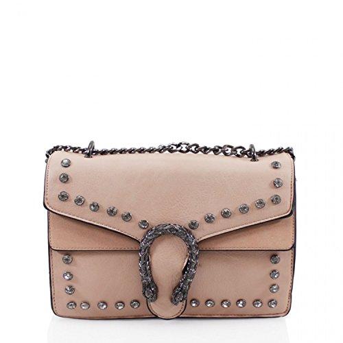LeahWard Damenmode Studded Chain Bag Umhängetaschen für Frauen Handtaschen für Party 859 (SCHWARZ) KHAKI