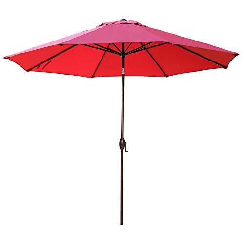 Abba Patio 11-Feet Patio Umbrella Outdoor Table Umbrella with Push Button Tilt and Crank, Red ()