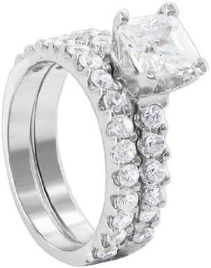 Gem Avenue Princess Cut Clear Cubic Zirconia Sterling Silver Wedding Band Engagement Ring Set