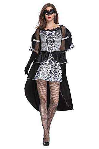 CosplayCos Women's Fallen Angel Halloween Costumes Devil Cosplay Dress Tailcoat with Wings -