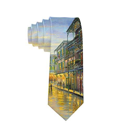 Mens Vintage Small Town Oil Painting Necktie - Classic Fashion Gentleman Gift Tie Wedding Party Necktie]()