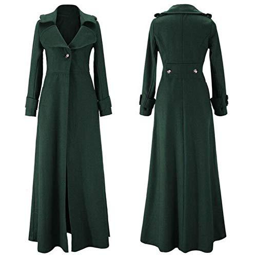 Autunno Caldo Coat Da Inverno Cappotto Blend Long Slim Capispalla Green Femminile Trench Windbreaker Maxi Donna Dress Classico wtfqCx
