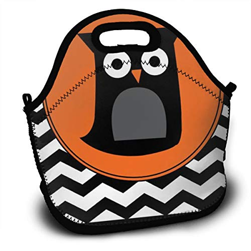 Happy Halloween Striped Owl Bird Lunch Bag Portable Bento Bags Food Boxes Carry Case Tote Adults Kids Outdoor Multifunction Handbag Pouch For Picnic Travel School Office Trip Work]()