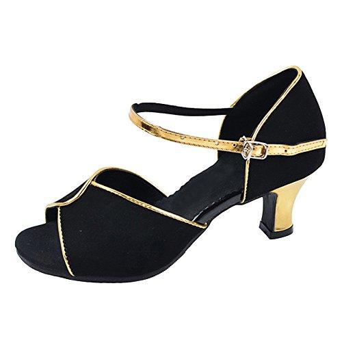 Outdoor Gold Sandals Ballroom Latin Dance Womens' Flared Heel Shoes Edge Pumps xz8H87aw