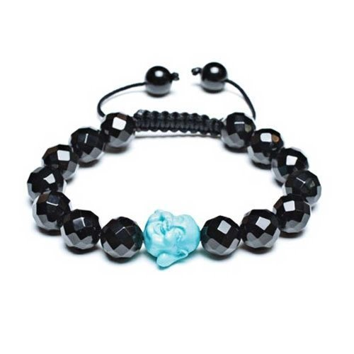 Craved Blue Buddha Black Faceted Ball Bead Bracelet for Women for Men Black Cord String Adjustable