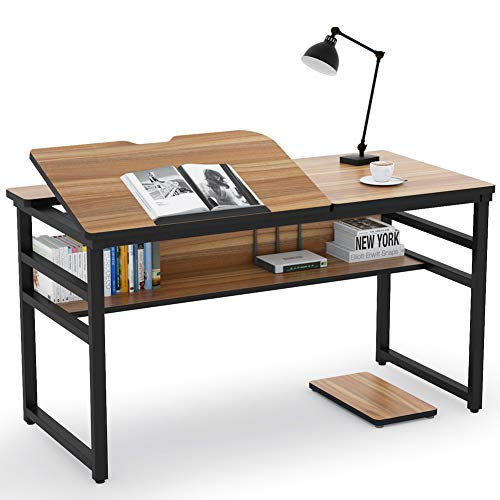 Tribesigns Modern Drafting Desk Drawing Table with Storage Shelf, 55 inch Large Computer Desk Writing Desk Craft Workstation with Tiltable Tabletop for Artist, Home Office