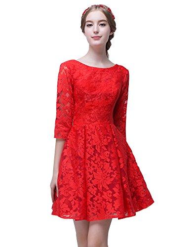 Ärmeln Rot mit Erosebridal Kleid line A Spitze Brautjungfer Juwel kurze zH8xqz