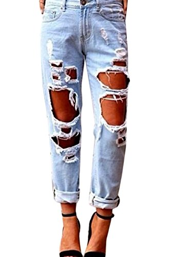 Las XXL Boyfriend Pants yulinge Ripped Mujeres Destruido Verano Casual Blue Denim Jeans qwPHwZ