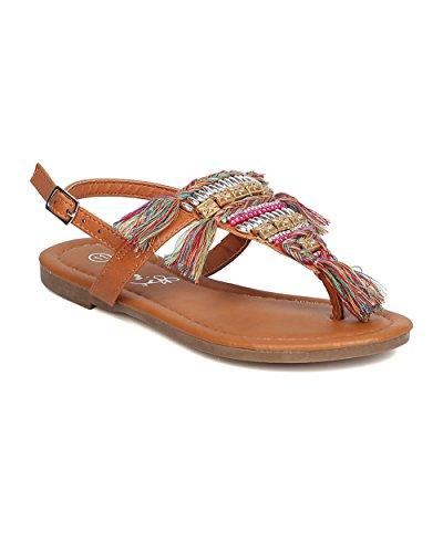 Girl Mixed Media Precious Gems Sandal - Casual, Costume, Beach - T-Strap Flat Sandal - GC07 By Betani - Camel (Size: Little Kid (2 Man Camel Costume)