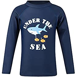 Toddler Boys Long Sleeve Rashguard Shirts Swimwear UPF 50+ Sun Protection Spark Navy 4T