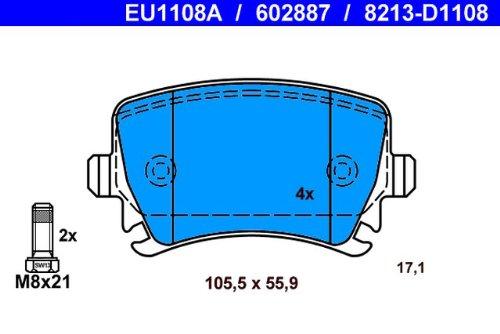 ATE 13.0460-2887.2 Bremsbelagsatz Scheibenbremse