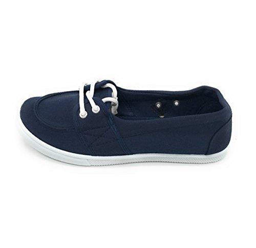 Blå Bär Easy21 Kvinnor Som Kanfas Rund Tå Slip På Plan Sneaker Oxford Båt Sko Navy