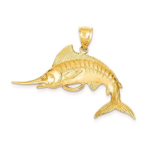 Venture Gold Charms Collection 14k Yellow Gold Marlin Open back Polished Pendant 38mmx46mm ()