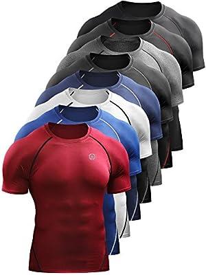 Neleus Men's Compression Baselayer Athletic Workout T Shirts 1 3 Pack