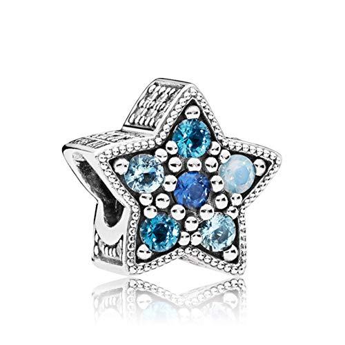 Romántico Amor Bright Star Charms Multi-Colored Crystals 925 Sterling Sliver Beads fit Pandora Bracelets Jewelry (Pandora Bracelet String)