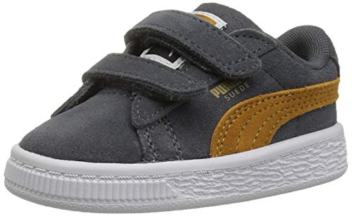 PUMA Baby Suede Classic Velcro Sneaker, Iron gate-Buckthorn Brown Team Gold, 5 M US Toddler