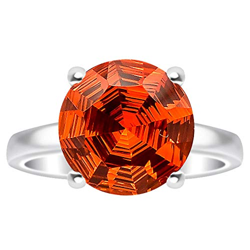 Desiregem Padparadscha Sapphire Lab Created 10x10 MM Round Shape 925 Sterling Silver Ring Size 6-10 DGR1079_E ()