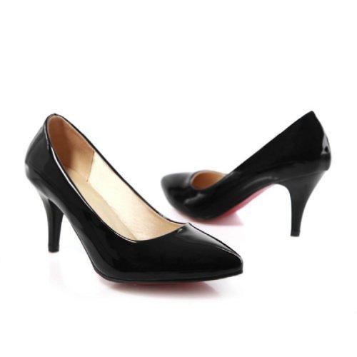 Charm Piede Moda Donna Classico Tacco Alto Stiletto Mary Jane Pumps Scarpe Nere