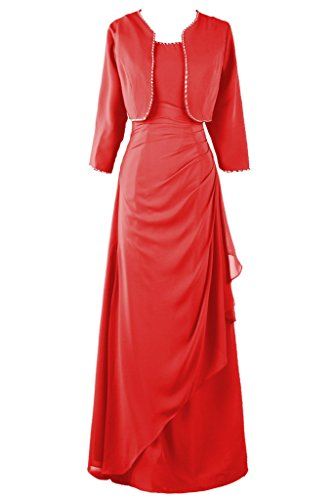 Dresstore Women's Chiffon Mother of the Bride Dress with Jacket Beaded Formal Gowns Red US 20Plus
