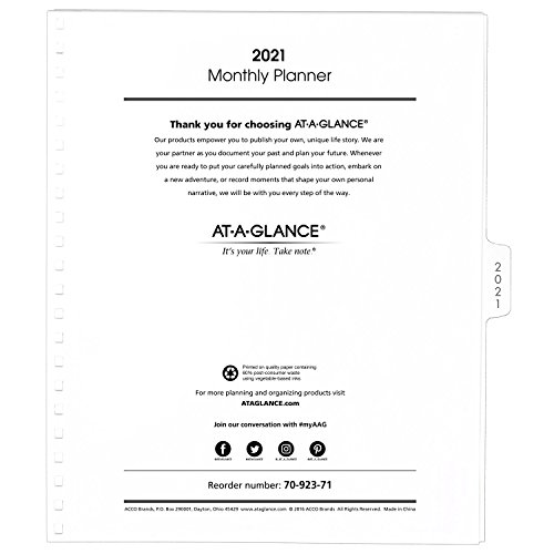 "AT-A-GLANCE Monthly Planner Refill, January 2021 - December 2021, 9"" x 11"", White (709237118)"
