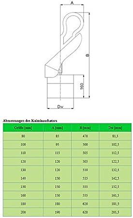 von rg-vertrieb Kaminaufsatz Schornsteinaufsatz Aufsatz s/äuerbest/ändiger Edelstahl L/üftungsaufsatz Hahn und Standard-Design Grundplatte Kaminabdeckung /Ø80-200mm Standard 130mm