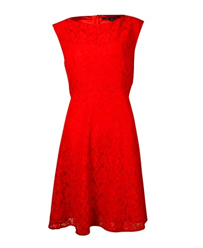 French Connection Women's Lizze Sleeveless Lace Fit and Flare Dress, Royal Scarlet, 12 by French Connection