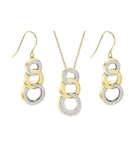 Carissima Gold - Parure Collier et Boucles d'Oreilles - Femme - Or bicolore 375/1000 (9 Cts) 1.7 Gr