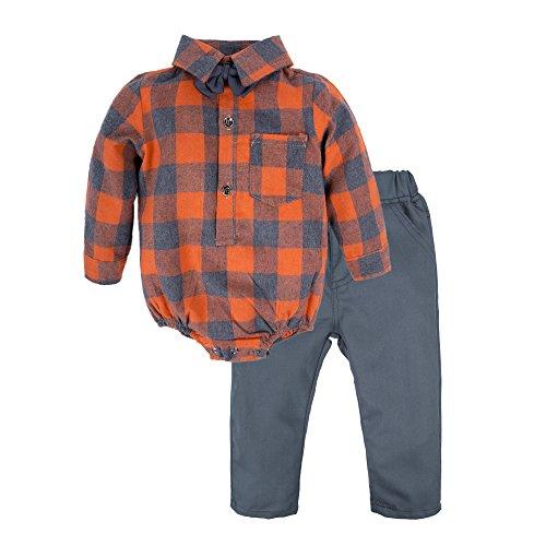 Boys Shirt Pants - BIG ELEPHANT Baby Boys'2 Piece Long Sleeve Shirt Pant Set with Bowtie Style D Q81-80 6-12 Months
