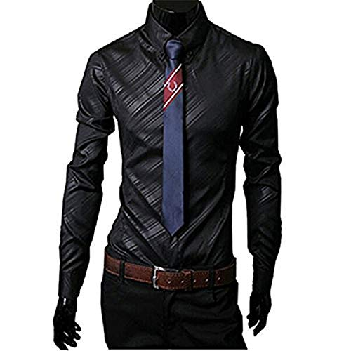 New Mens Er Stripes Dress Shirts Tops Casual Slim Long 14 Color Size,XX-Large,Black1,]()