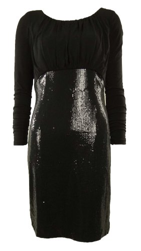 Tahari Sequined Ruched Jersey Cowl Back Sheath Dress (12, Black)
