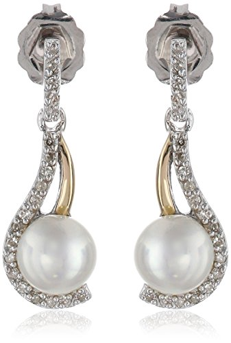 Sterling Silver and 14k Yellow Gold Freshwater Cultured Pearl and Diamond Earrings (0.11 cttw) by Amazon Collection